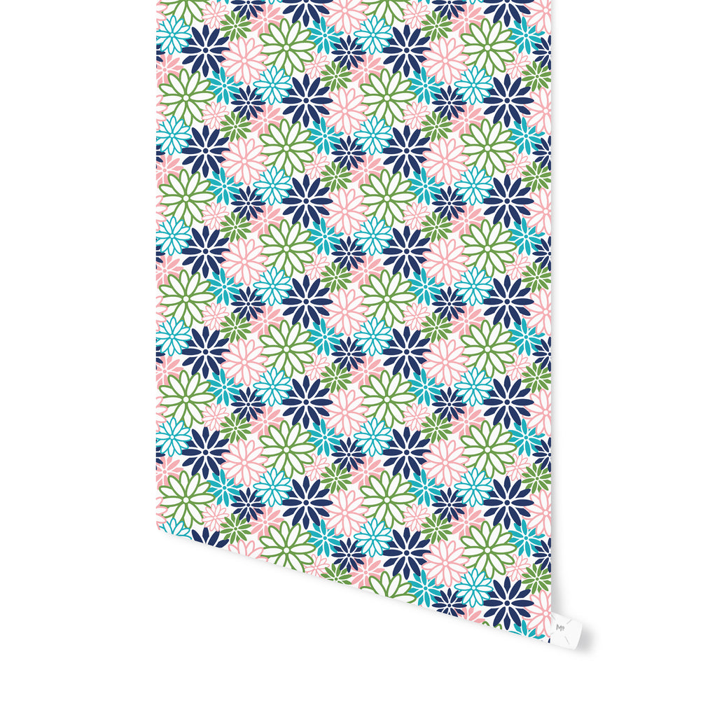BEATNIK FLORAL PASTEL Peel and Stick Wallpaper By Becky Bailey