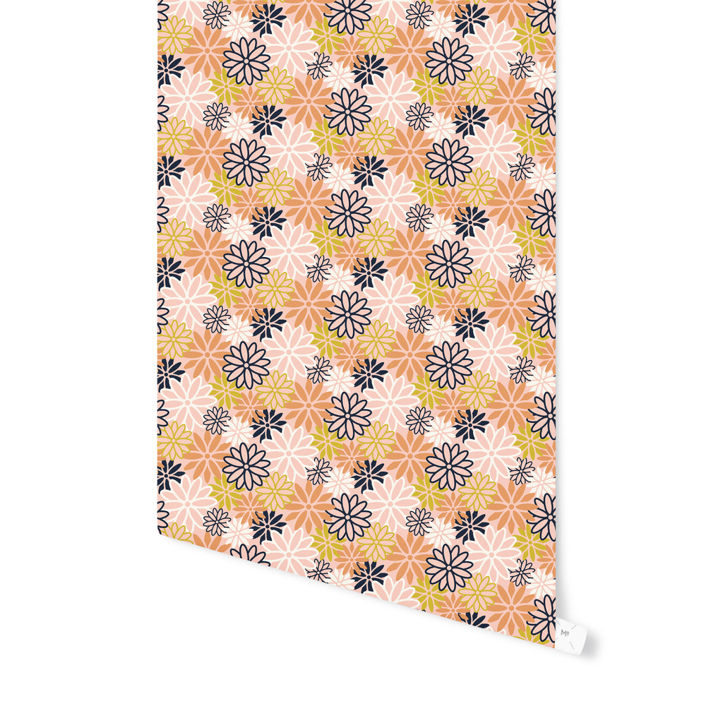 BEATNIK FLORAL PEACH Peel and Stick Wallpaper By Becky Bailey