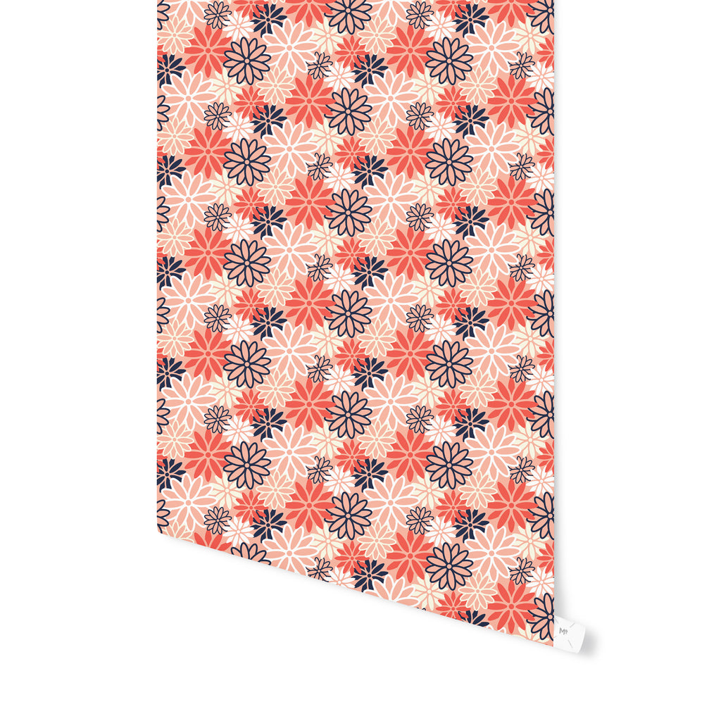 BEATNIK FLORAL RED Peel and Stick Wallpaper By Becky Bailey
