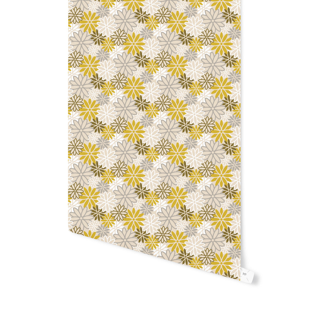 BEATNIK FLORAL YELLOW Peel and Stick Wallpaper By Becky Bailey