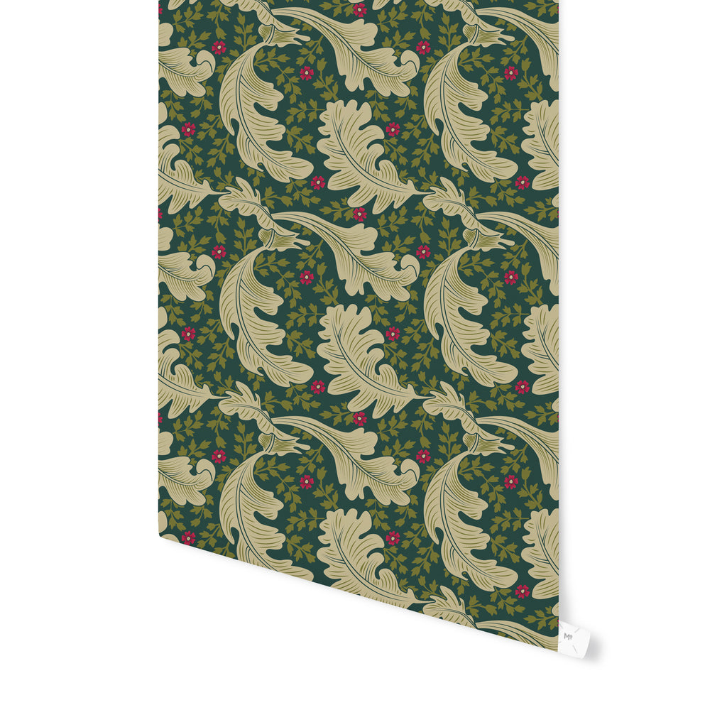 OAK LEAF FLORAL EVERGREEN Peel and Stick Wallpaper By Becky Bailey