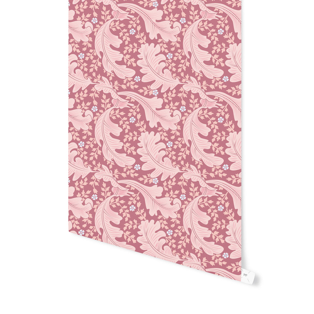 OAK LEAF FLORAL MAUVE Peel and Stick Wallpaper By Becky Bailey