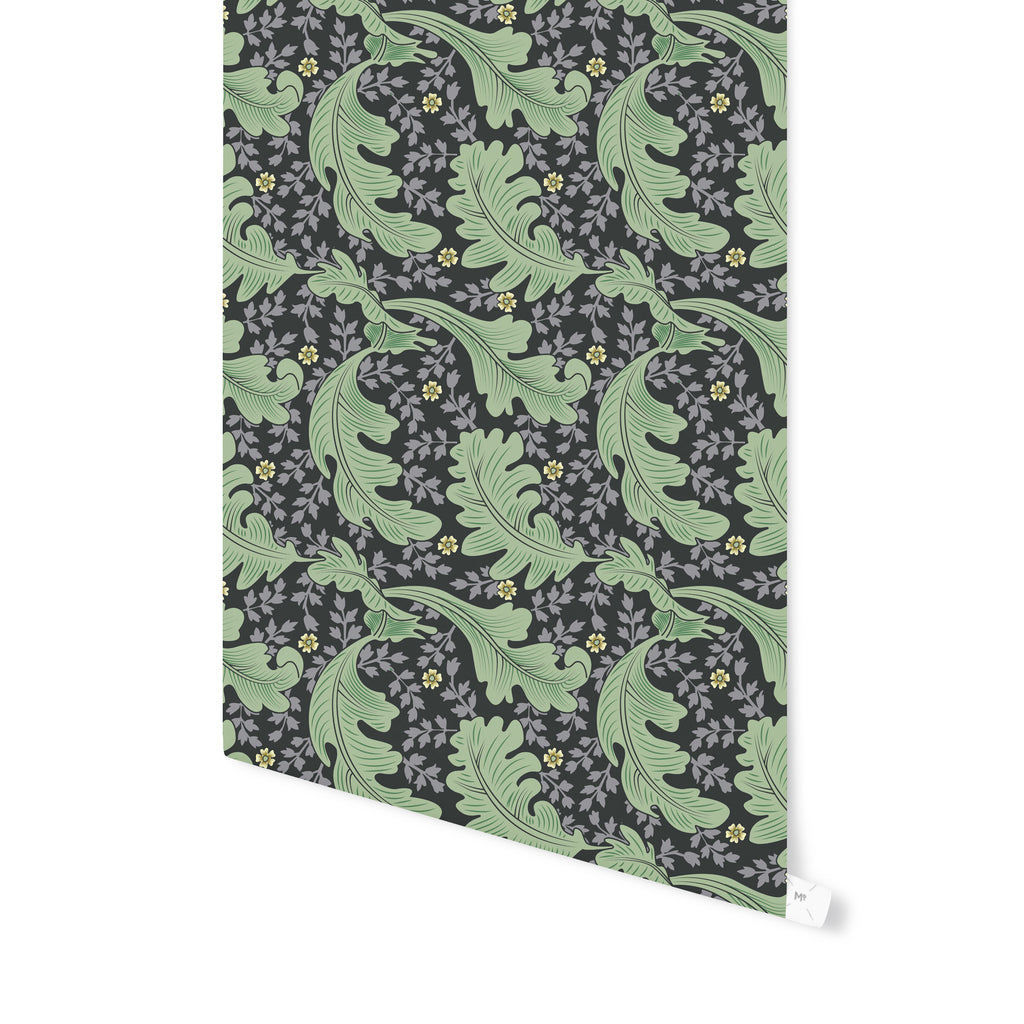 OAK LEAF FLORAL MOUNTAIN MINT Peel and Stick Wallpaper By Becky Bailey
