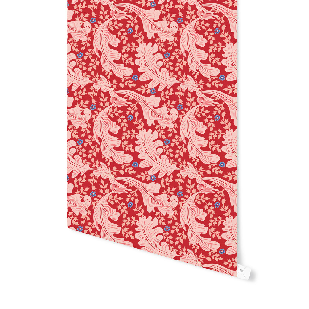 OAK LEAF FLORAL RED Peel and Stick Wallpaper By Becky Bailey