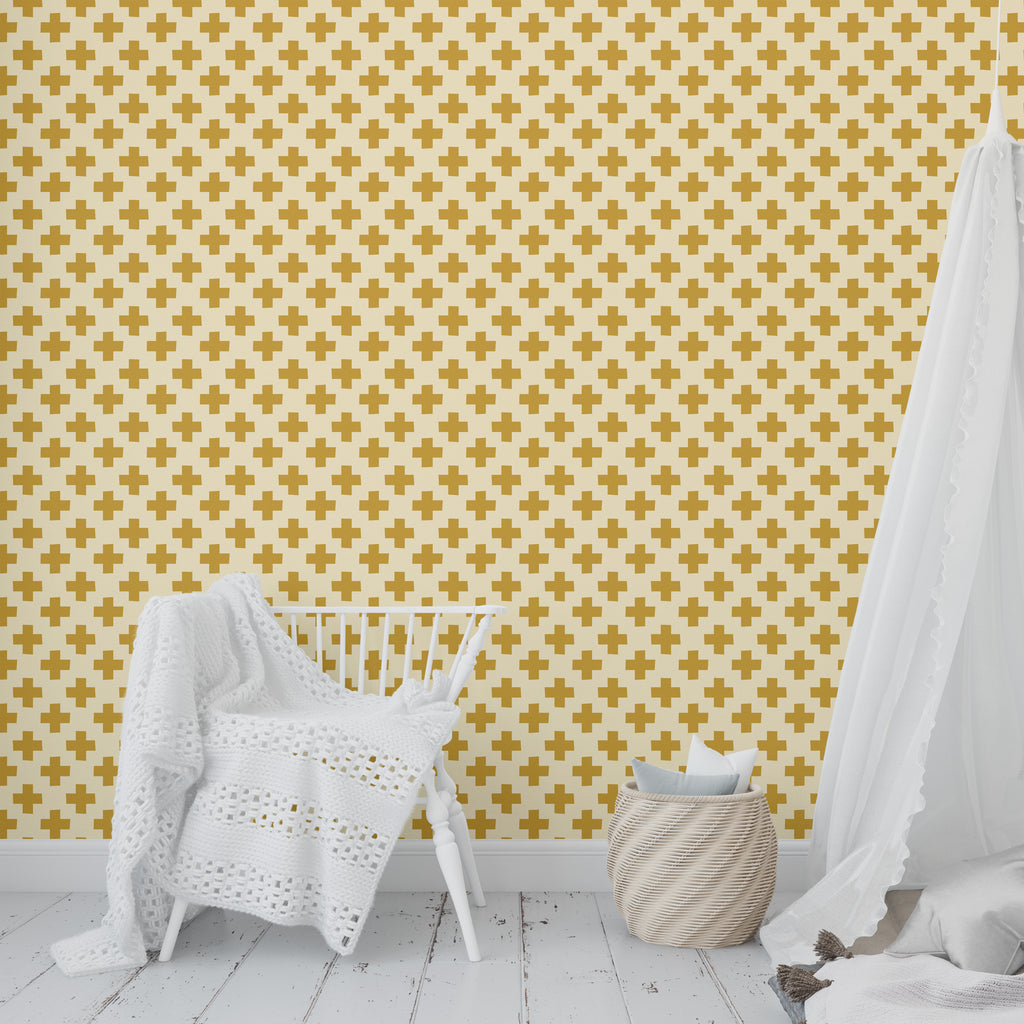 PLUS GOLD Peel and Stick Wallpaper By Becky Bailey