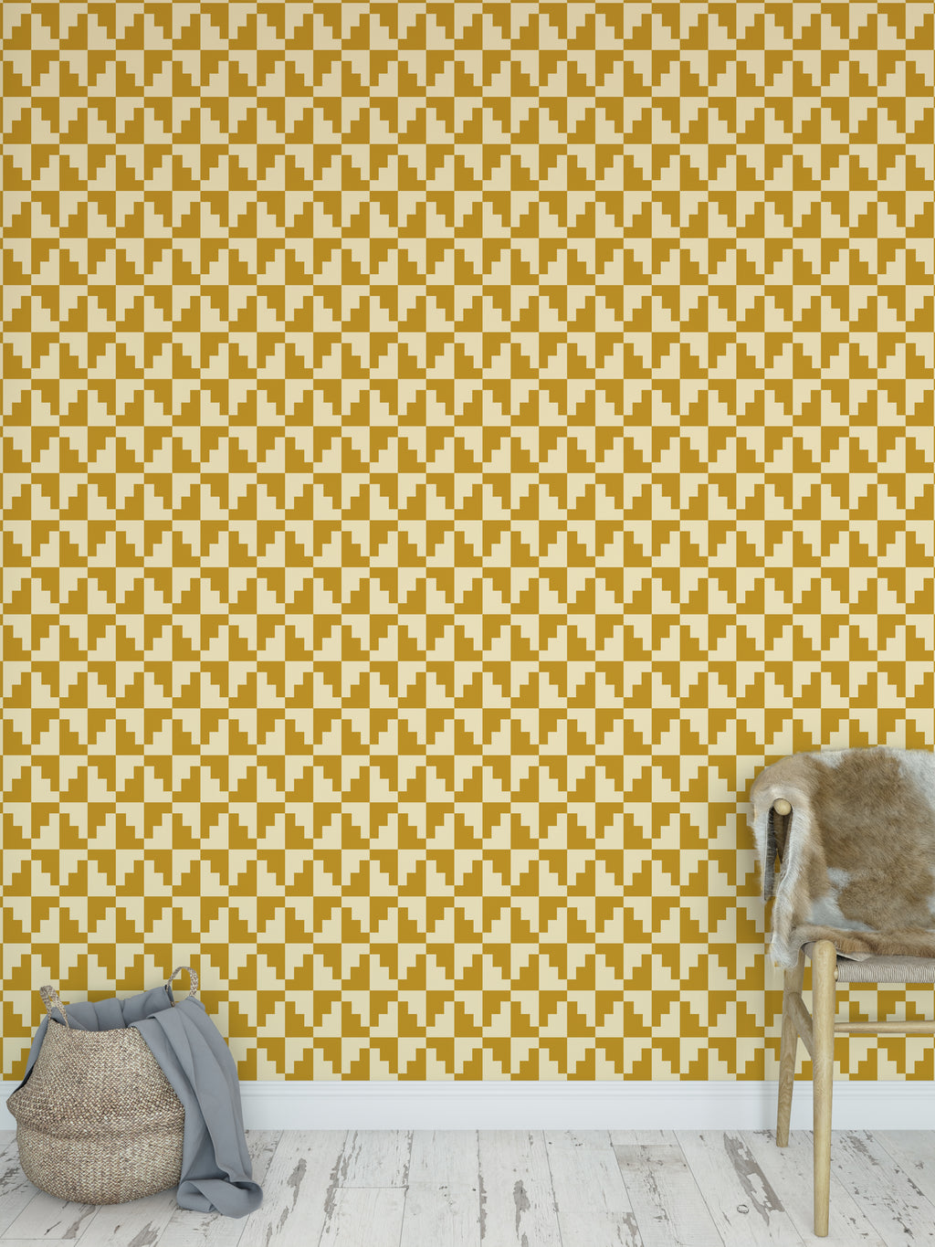 STAIRSTEP DIAMONDS GOLD Peel and Stick Wallpaper By Becky Bailey