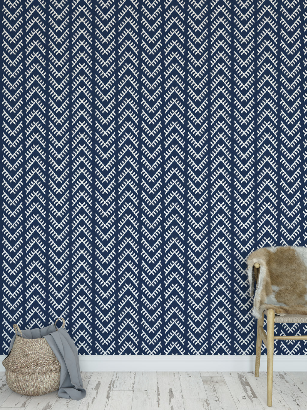 STITCHED ARROWS NAVY Peel and Stick Wallpaper By Becky Bailey