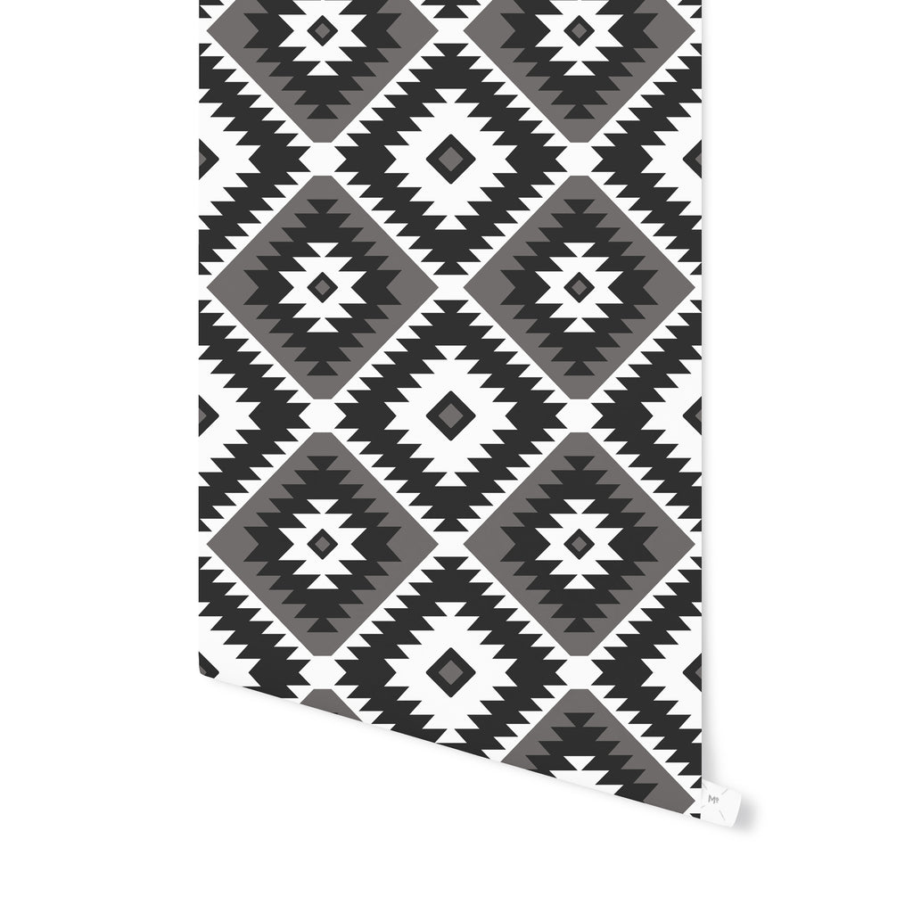 TANGIER KILIM BW Peel and Stick Wallpaper By Becky Bailey