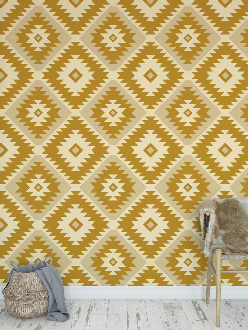 TANGIER KILIM GOLD Peel and Stick Wallpaper By Becky Bailey