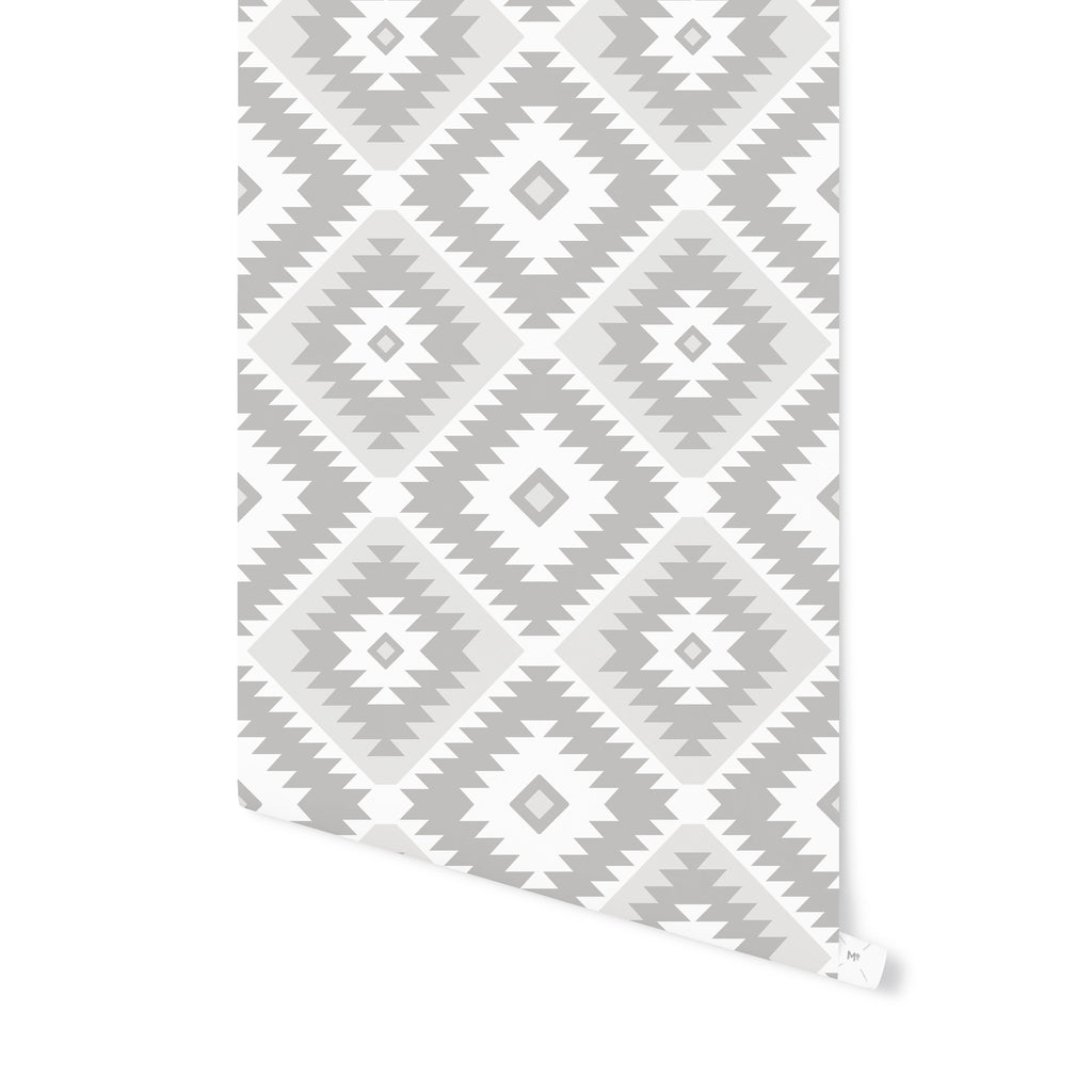 TANGIER KILIM GREY AND WHITE Peel and Stick Wallpaper By Becky Bailey