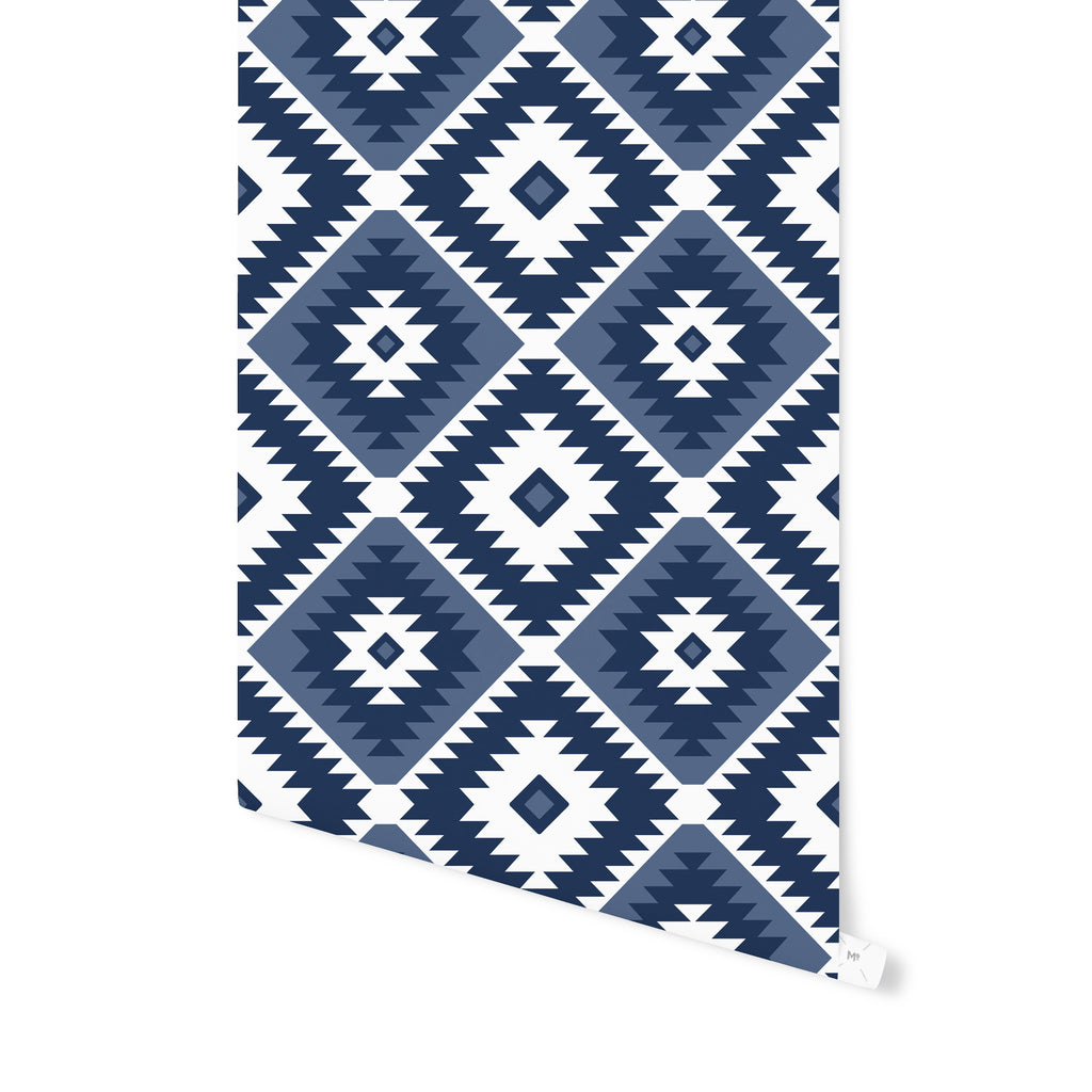 TANGIER KILIM NAVY Peel and Stick Wallpaper By Becky Bailey