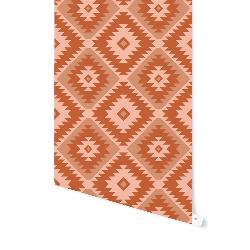 TANGIER KILIM RUST Peel and Stick Wallpaper By Becky Bailey