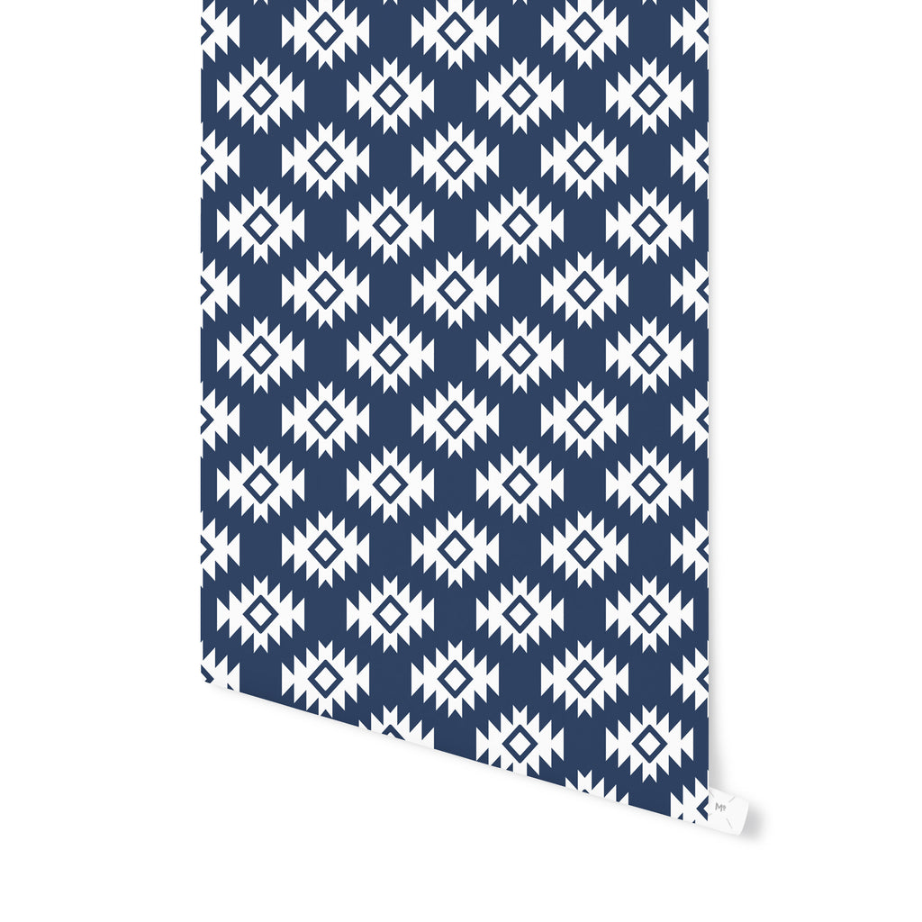 THIRD EYE KILIM NAVY Peel and Stick Wallpaper By Becky Bailey