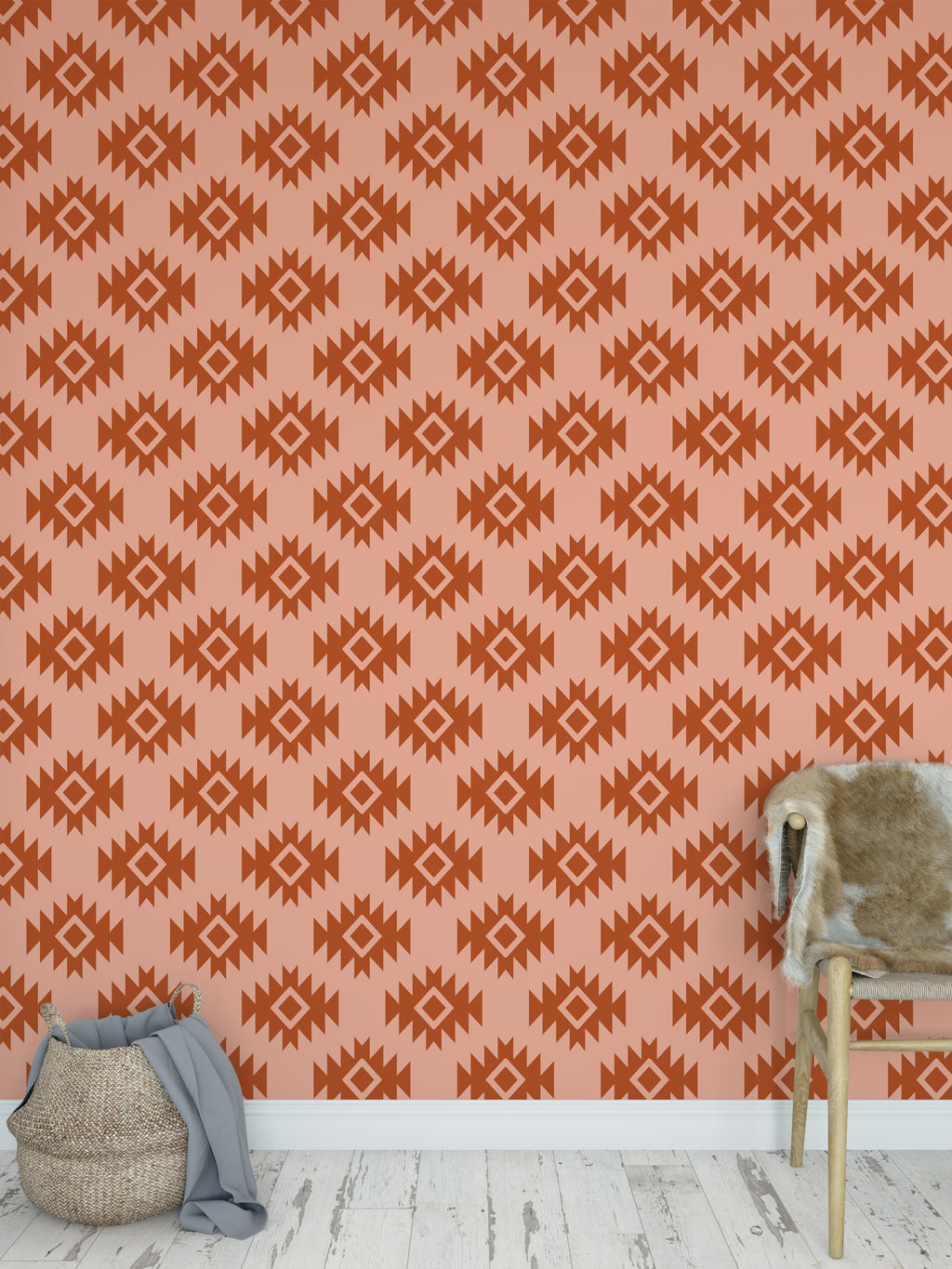 THIRD EYE KILIM RUST Peel and Stick Wallpaper By Becky Bailey