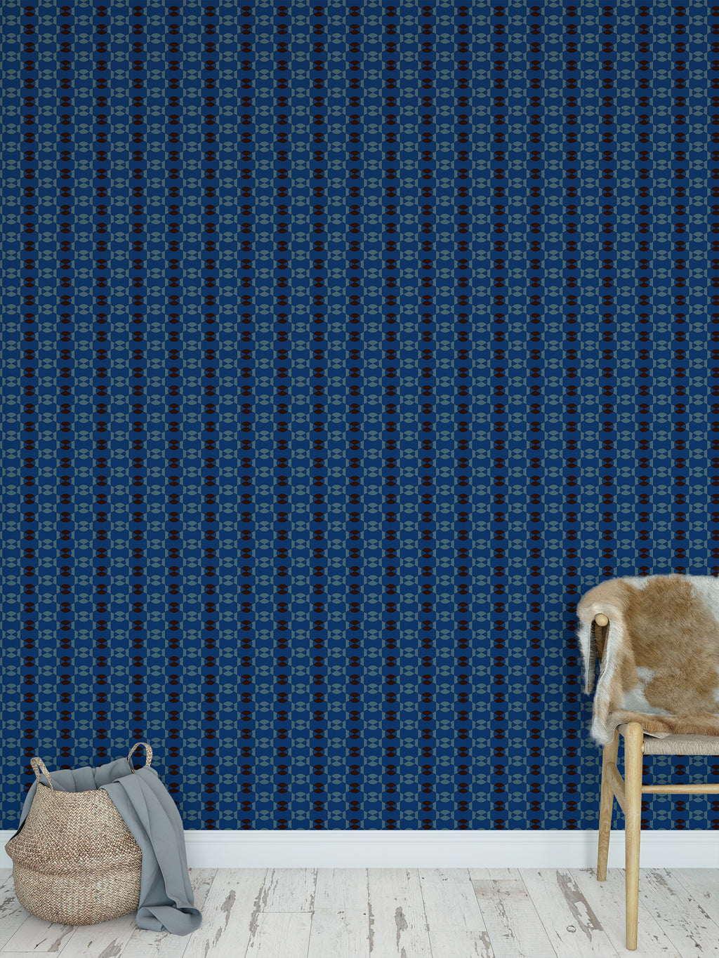 JOYFUL BLUE AND COFFEE SMALLSCALE Peel and Stick Wallpaper By Jackie Reynolds