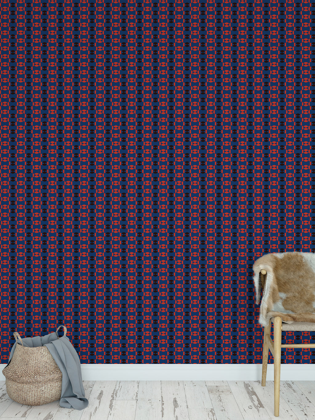 JOYFUL BLUE AND RED SMALLSCALE Peel and Stick Wallpaper By Jackie Reynolds