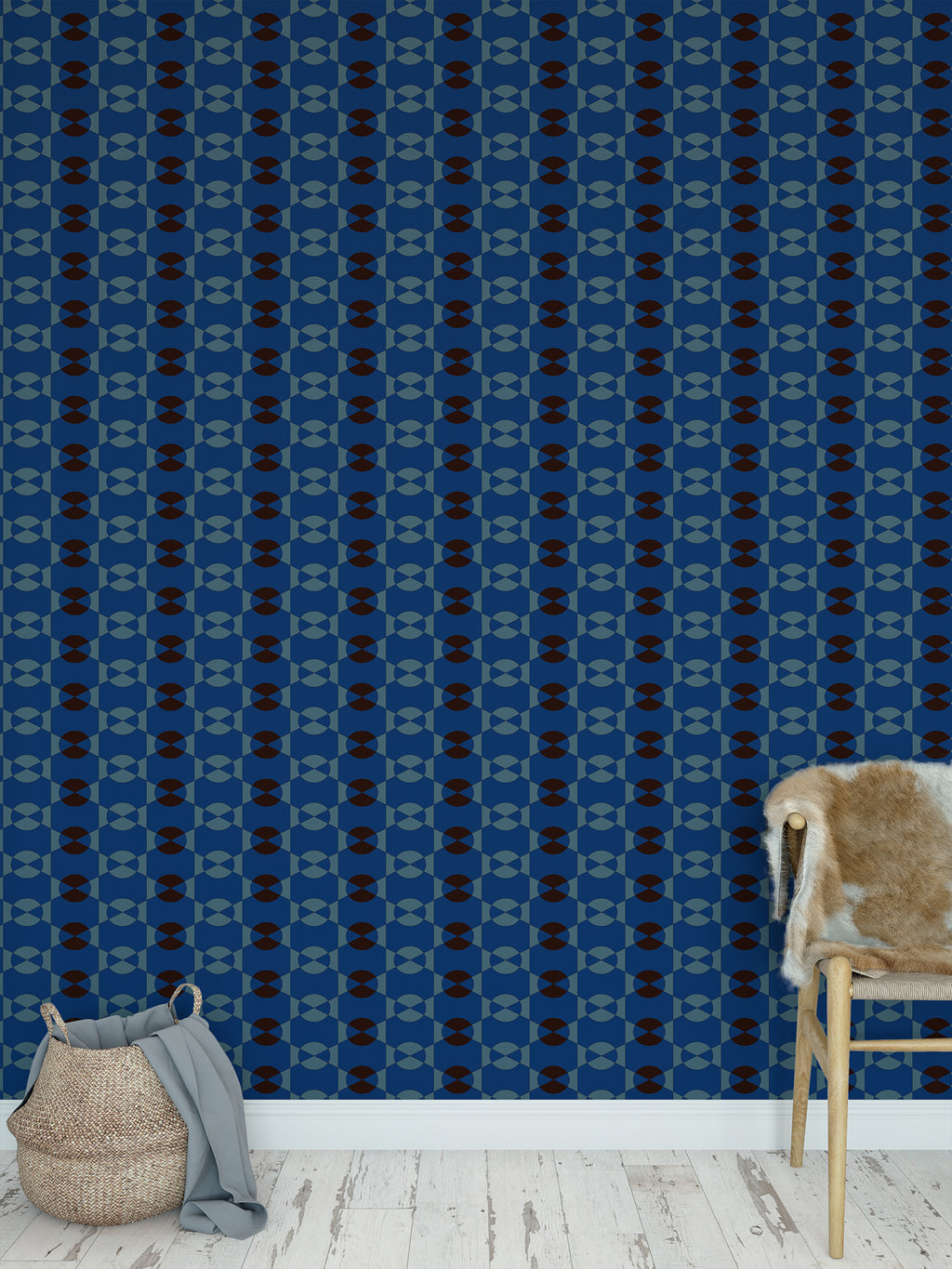 JOYFUL BLUE AND COFFEE Peel and Stick Wallpaper By Jackie Reynolds