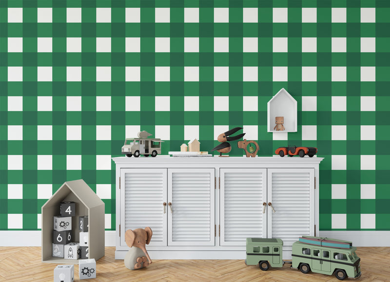 BARRETT BUFFALO CHECK GREEN Wallpaper By Terri Ellis