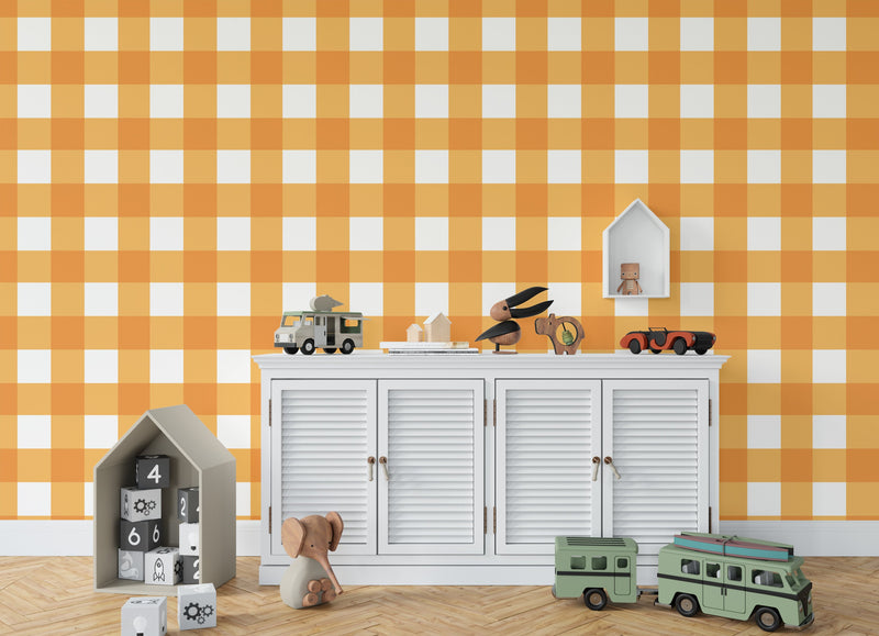 BARRETT BUFFALO CHECK ORANGE Wallpaper By Terri Ellis