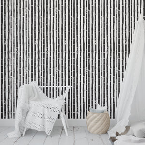 BAMBOO BLACK Peel and Stick Wallpaper By Tiffany Wong