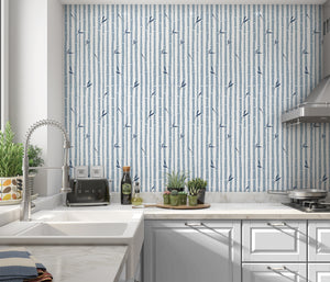 BAMBOO BLUE Peel and Stick Wallpaper By Tiffany Wong