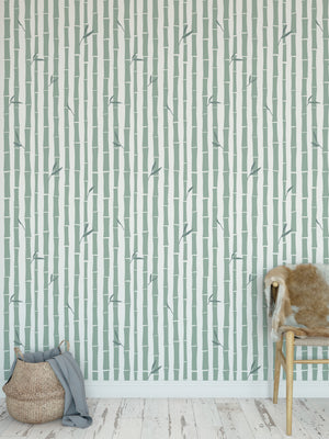 BAMBOO GREEN Peel and Stick Wallpaper By Tiffany Wong