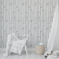 BAMBOO GREY Peel and Stick Wallpaper By Tiffany Wong