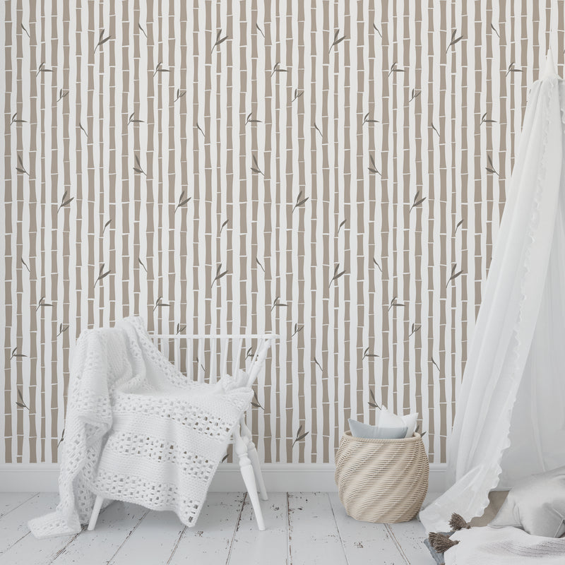 BAMBOO NATURAL Peel and Stick Wallpaper By Tiffany Wong