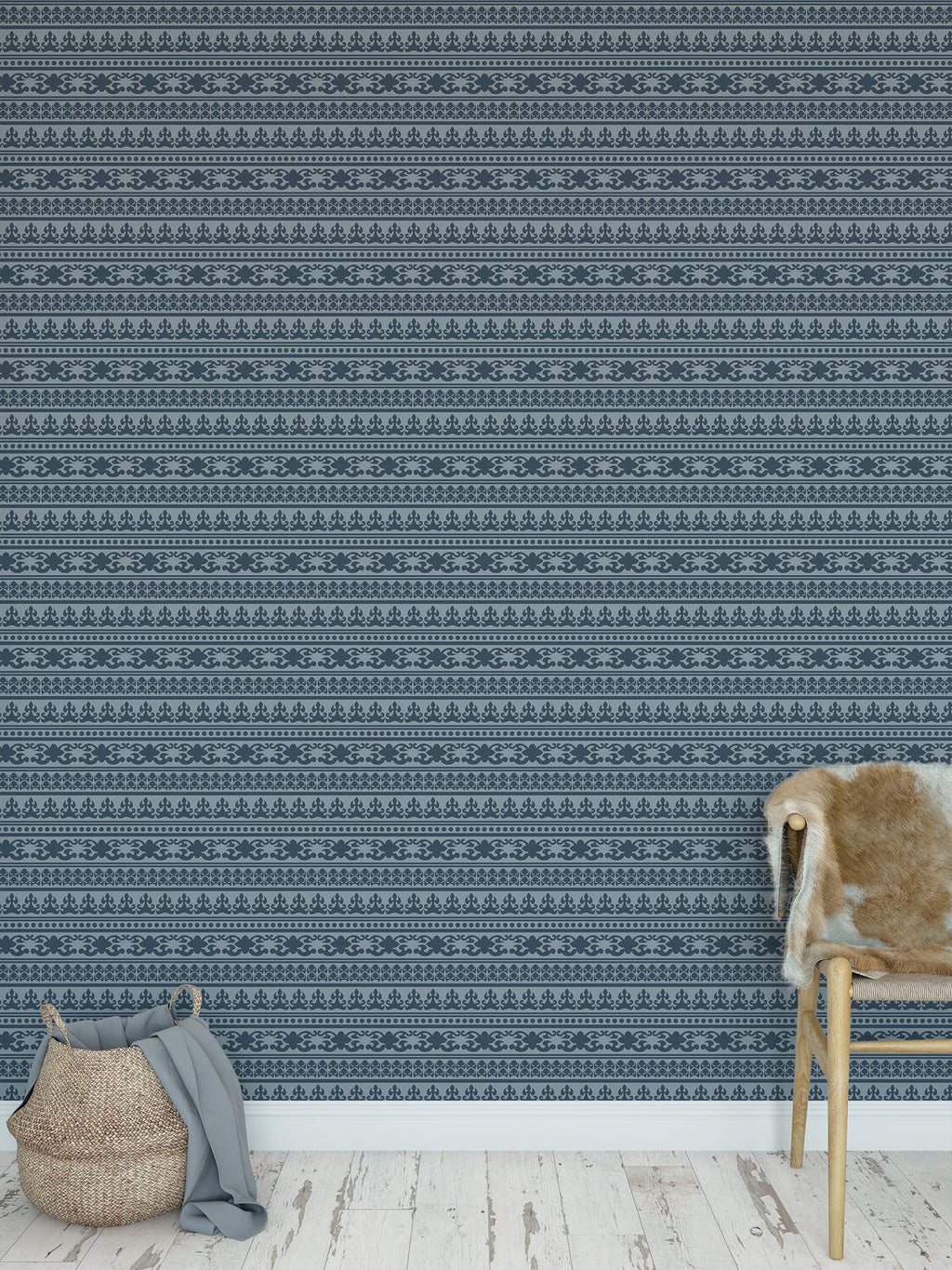 ANGKOR BLUE Peel and Stick Wallpaper By Tiffany Wong