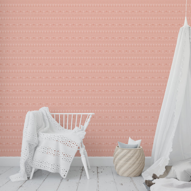 ANGKOR CORAL Peel and Stick Wallpaper By Tiffany Wong