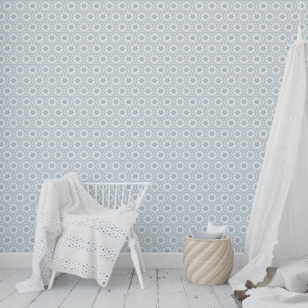 FREE SPIRIT BLUE Peel and Stick Wallpaper By Tiffany Wong