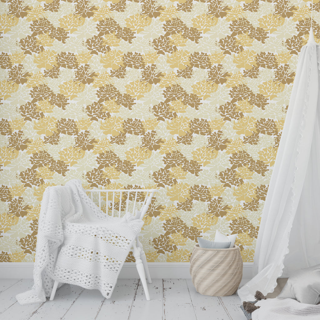PEONIES YELLOW Peel and Stick Wallpaper By Tiffany Wong