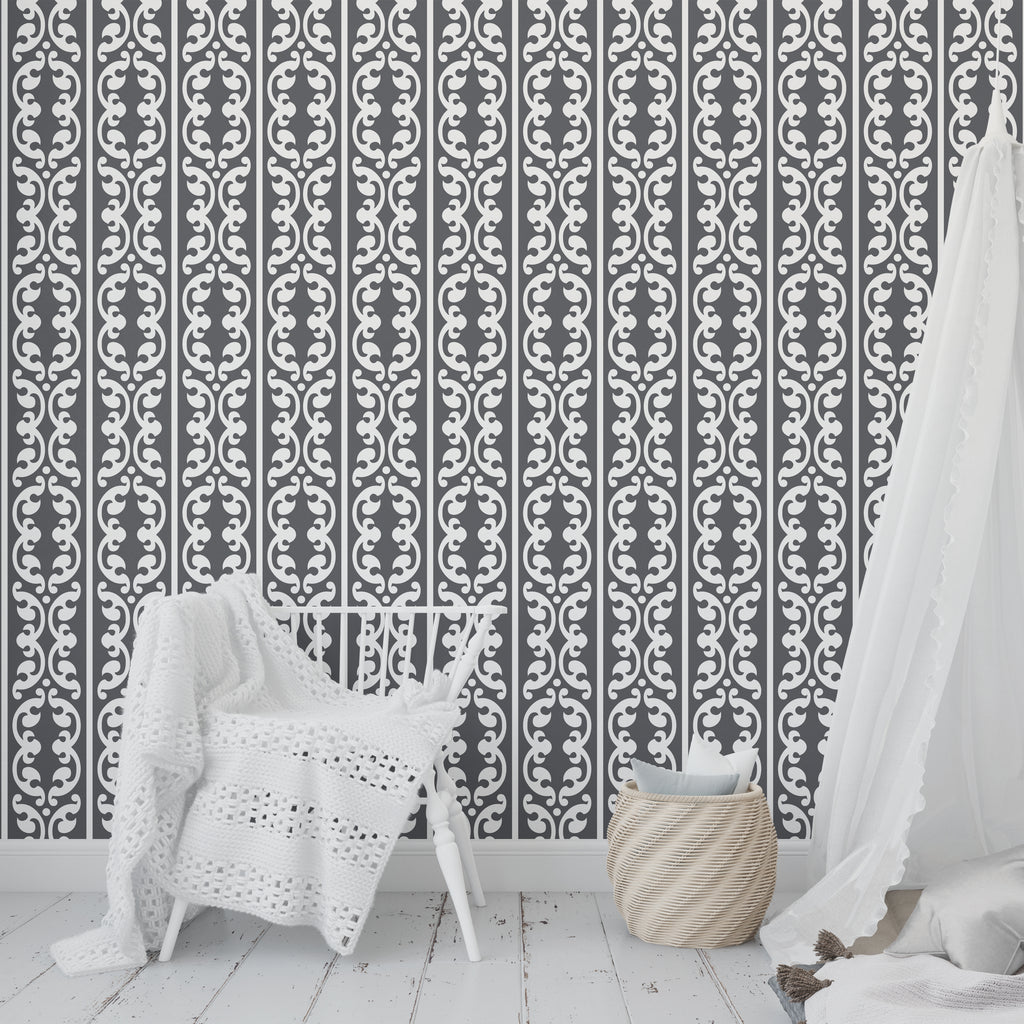 SOKHOM CHARCOAL Peel and Stick Wallpaper By Tiffany Wong
