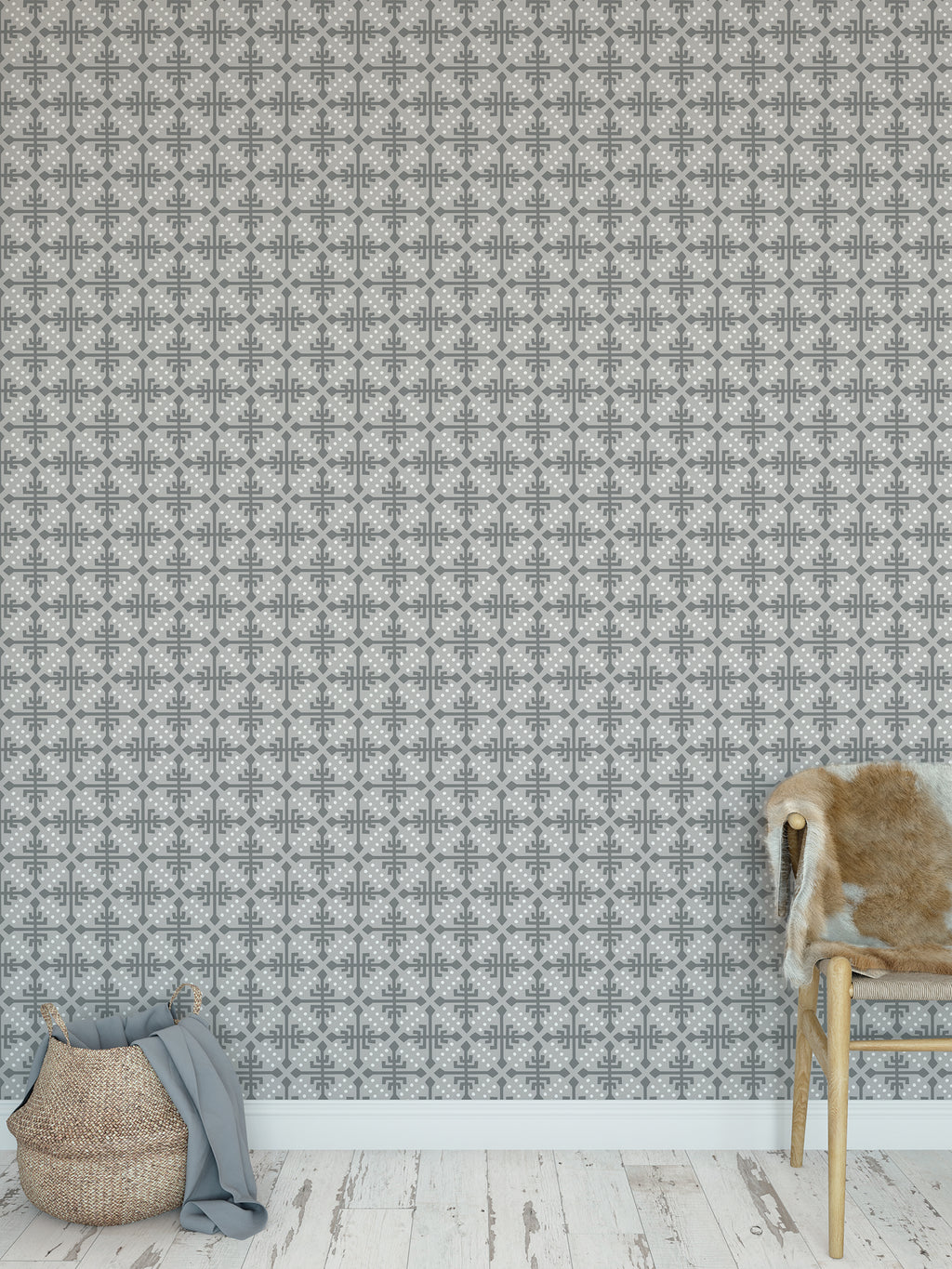 WONDER GREY Peel and Stick Wallpaper By Tiffany Wong