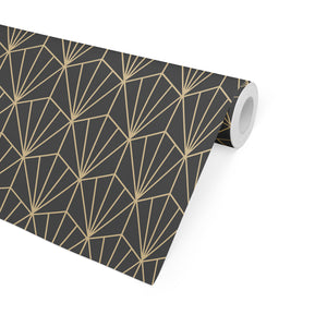 ART NOUVEAU CHARCOAL AND GOLD Peel and Stick Wallpaper By Becky Bailey