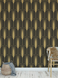 ARCHES BLACK & GOLD Peel and Stick Wallpaper By Becky Bailey