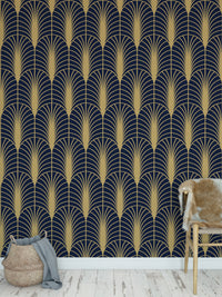 ARCHES NAVY & GOLD Peel and Stick Wallpaper By Becky Bailey