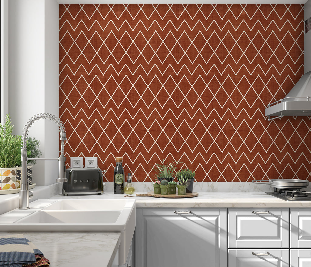 AVOCA RUST Peel and Stick Wallpaper By Becky Bailey
