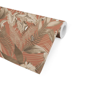 TROPICAL JUNGLE DARK CORAL Peel and Stick Wallpaper By Marina Gutierrez