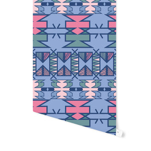 AZTEC BLUE Peel and Stick Wallpaper By Terri Ellis