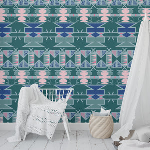 AZTEC GREEN Peel and Stick Wallpaper By Terri Ellis