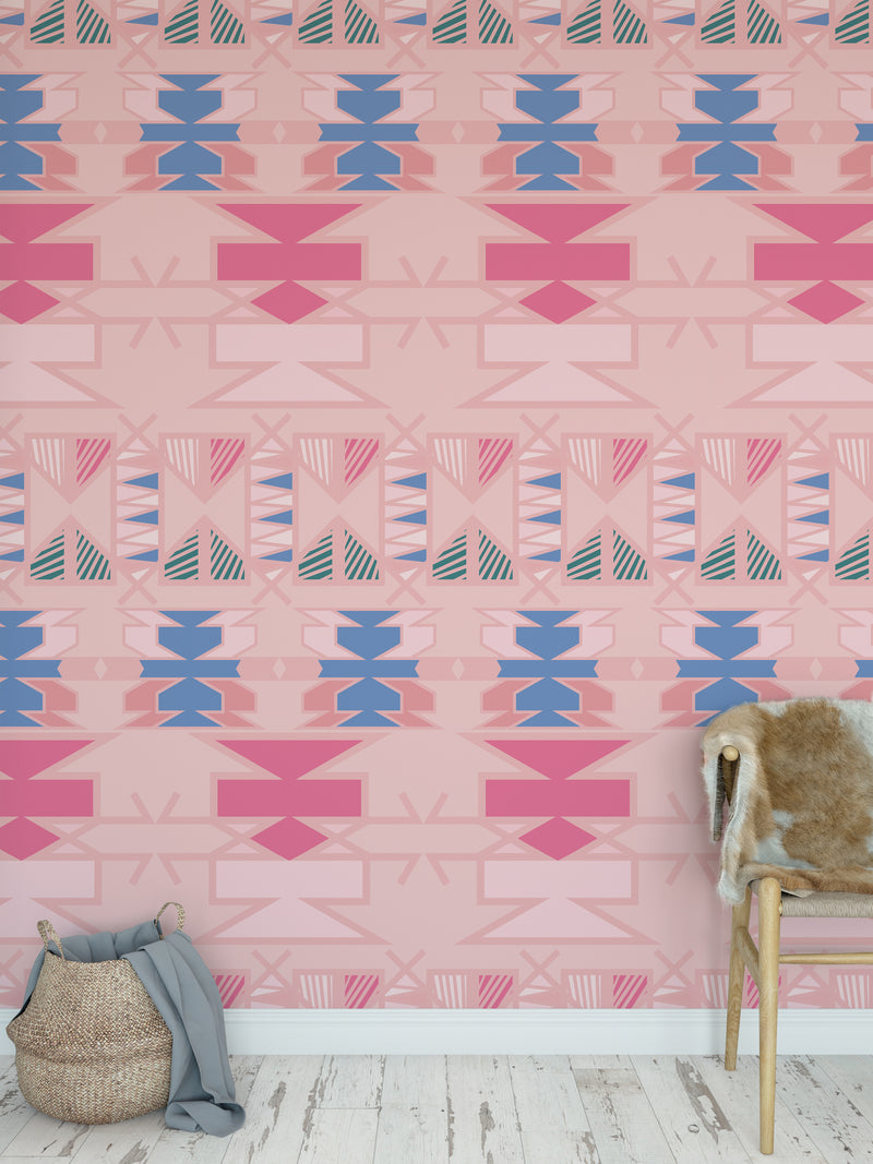 AZTEC PINK Peel and Stick Wallpaper By Terri Ellis