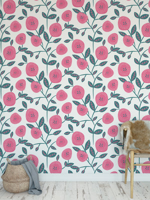 WILD FLOWER DARK PINK Peel and Stick Wallpaper By Terri Ellis