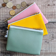 green yellow pink zip purses