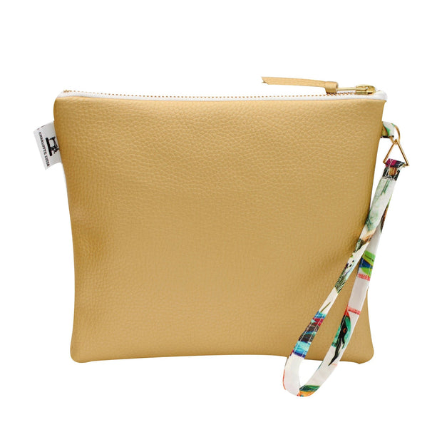 Gold Clutch Bag in Faux Leather with Water Resistant Lining and Wrist Strap