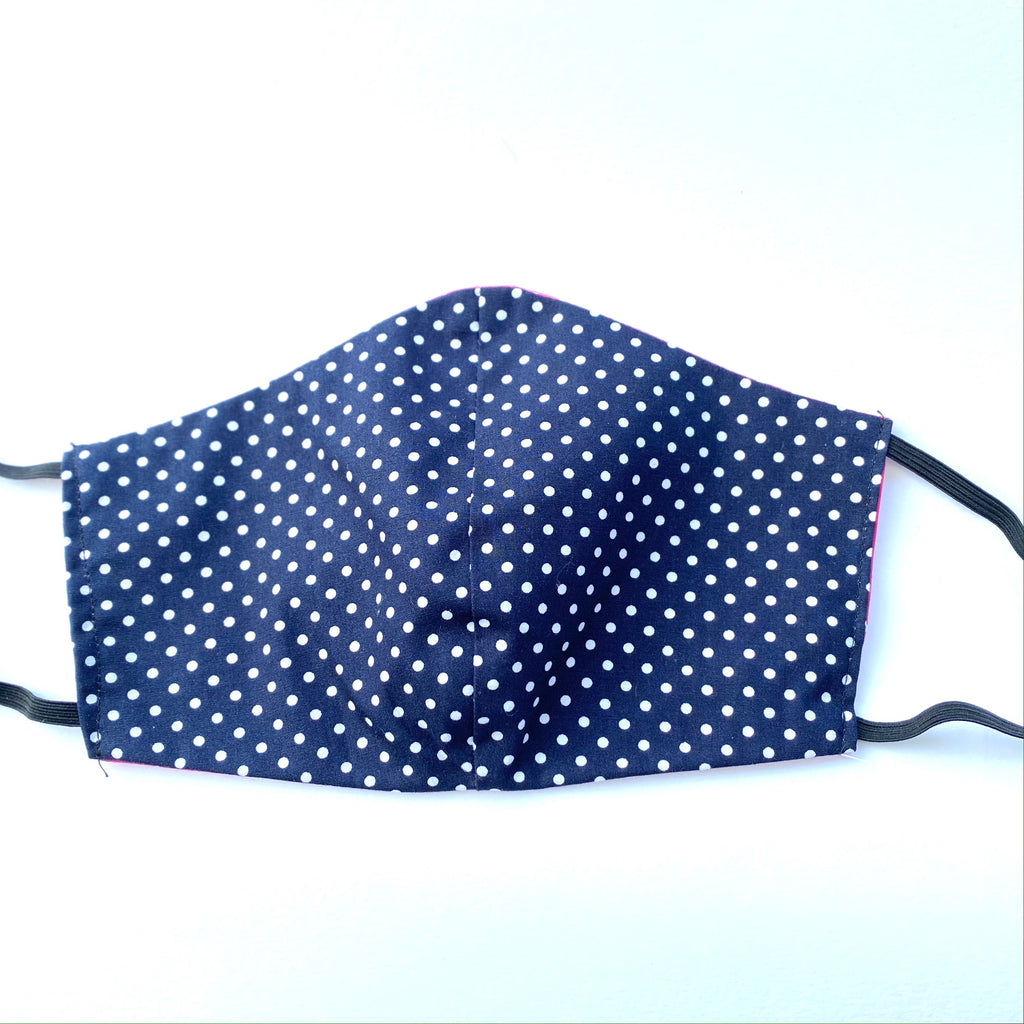 Polka Dot Pink & Navy Fabric Face Mask | Small, Large | Limited Edition