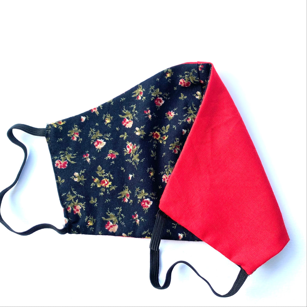 Navy Ditsy Print & Red Fabric Face Mask | Small, Medium | Limited Edition