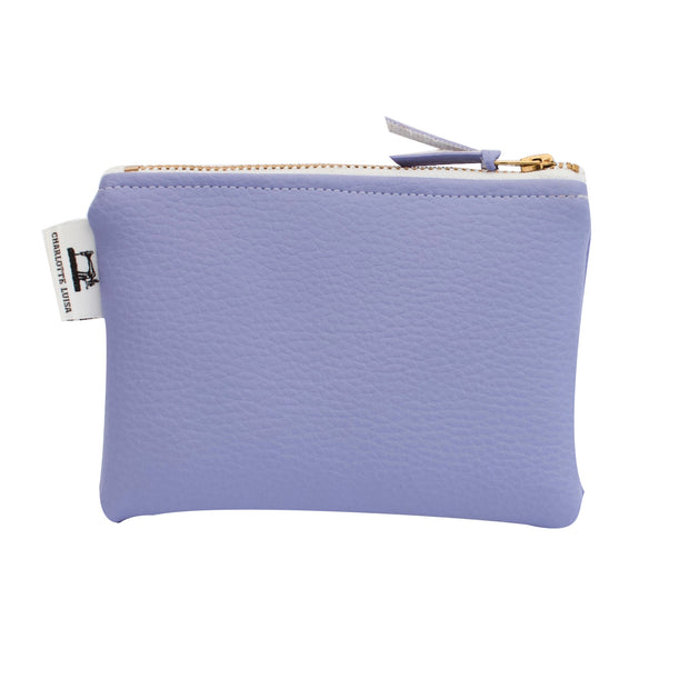 lilac zip coin purse