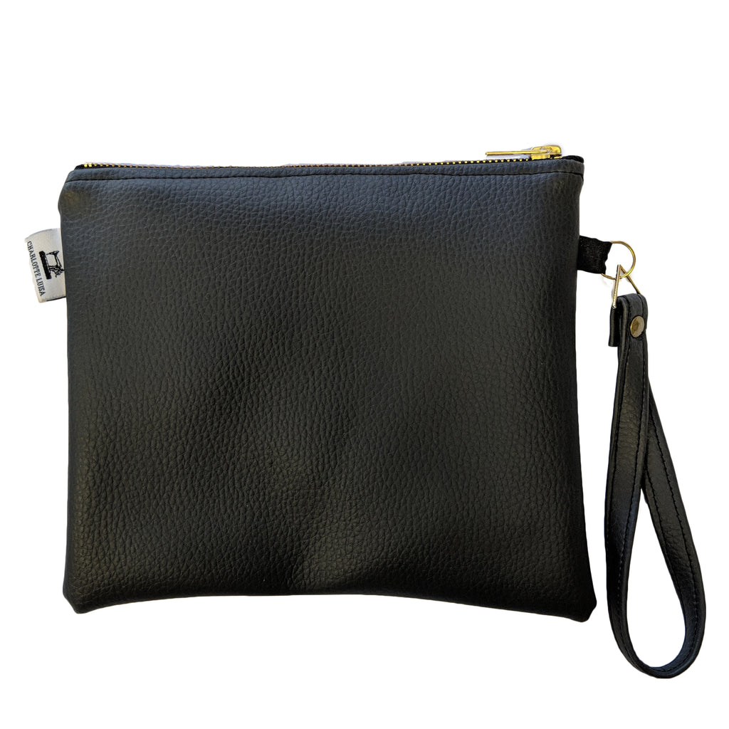 Travel Pouch | Black Faux Leather