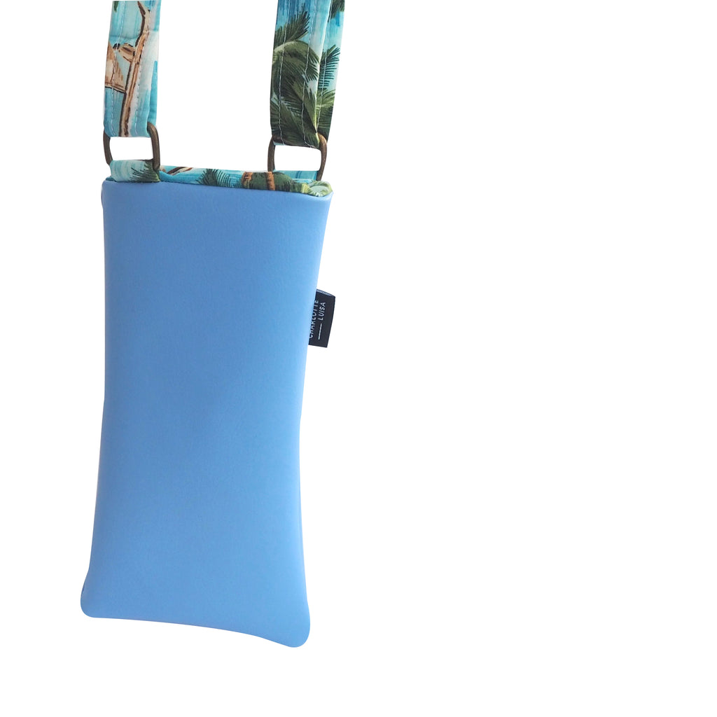 Phone Pouch | Blue Faux Leather